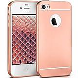 moex iPhone 4S | Hülle Silikon Rose-Gold Smooth Back-Cover Chrom Matt Silikonhülle Ultra-Slim Schutzhülle Metallic Handy-Hülle für iPhone 4/4S Case Dünn