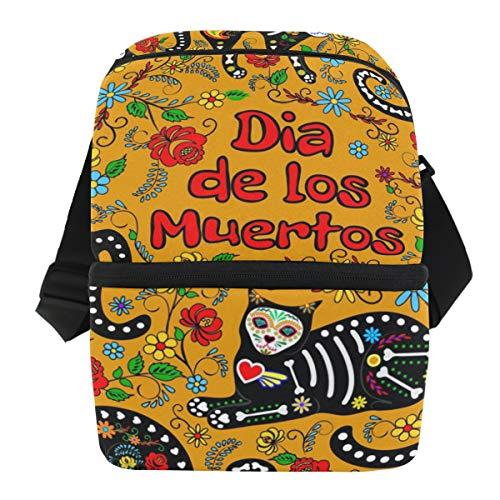 asche, mexikanischer Sugar Skull Cat Zitat, Lunchbox, Reißverschluss, isoliert, wiederverwendbar, Eisbeutel mit Schulterriemen für Mädchen Jungen Damen und Herren ()