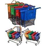 Sohler par Eurotrade L Ltd Lot de 4réutilisable supermarché Tri Chariot de Courses épicerie Sacs de Nourriture avec Code Couleur Intercalaires, Multicolore, 60x 10x 55cm