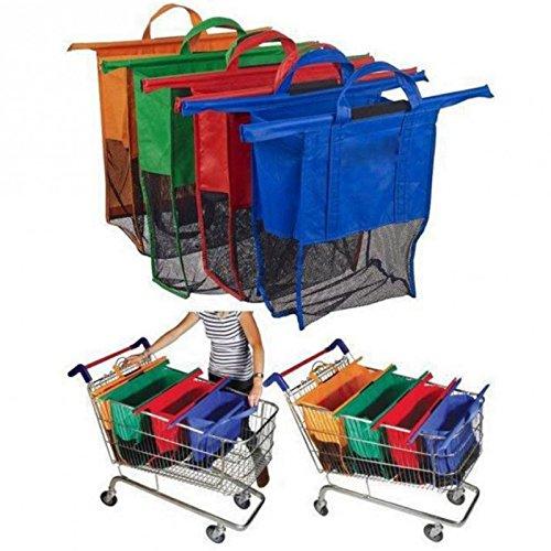 sohler por Eurotrade W Ltd Set de 4Bolsas de supermercado clasificación Carrito de la Compra Reutilizables Grocery Alimentos Color Coded divisores,, 60x 10x 55cm