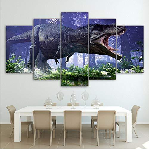 cmdyz (Kein Rahmen) Modulare Hd Leinwand Gedruckt Wand Wohnzimmer Malerei 5 Panel Jurassic Park DinosaurierDekoration Poster Bilder