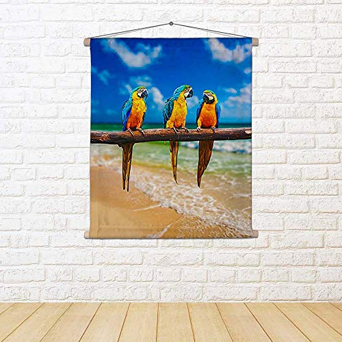 ArtzFolio Parrots On Beach Silk Painting Tapestry Scroll Art Hanging 12 X 13.7Inch -