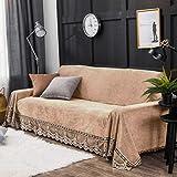 Plüsch Sofa Überwürfe,1-teilige Vintage Spitze Wildleder Couch-Abdeckung Anti-rutsch Sofaschoner Sofa Decke Für 1 2 3 4 Kissen-B 200x350cm(79x138inch)