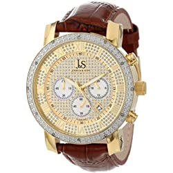 Joshua & Sons Men's Diamond Chronograph Quartz Watch with Gold Dial Analogue Display and Brown Leather Strap JS-28-03