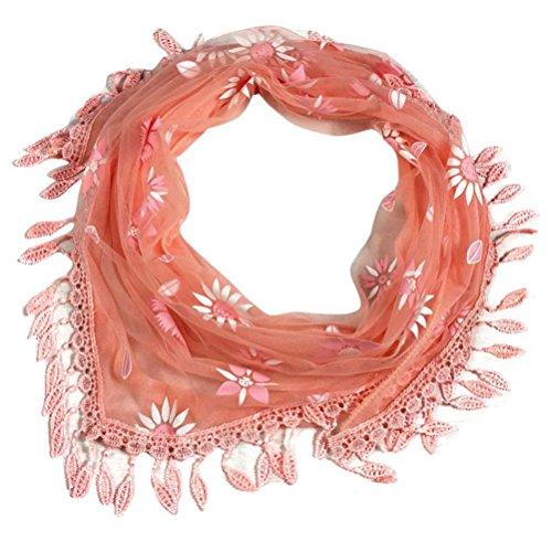 Transer ® Femelle Écharpes, Mode Lady Dentelle Tassel Triangle Sheer Mantilla Écharpe Rouge