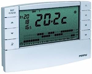 Sesam 1CR CR022B Thermostat d'ambiance digital Zefiro avec minuterie hebdomadaire 3 V Blanc