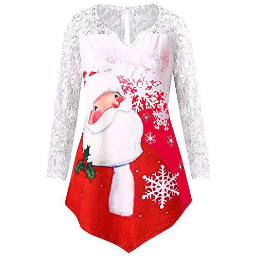 Christmas Damen Shirt Langarm UFODB Frauen Langarmshirt Irregular Hemd Spitze Sportshirt Xmas Weihnachtsmann Drucken T-Shirt Leichte Oberteile Blusenshirt