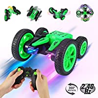 ThinkMax Stunt Car Remote Control for Kids, 2.4 GHz 4WD Double Sided Stunt Car 1 24 RC Vehicle Toy 360 Rotation (Green)