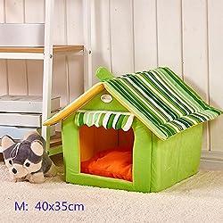 Casa de perro suave de productos para animales de cama del perro del refugio casa del animal doméstico del gato del perrito lavable (M, Verde)