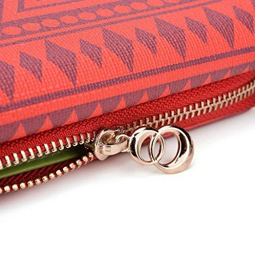 Kroo Pochette/étui style tribal urbain pour Gigabyte GSmart Guru (White Edition)/akta A4 Multicolore - bleu marine Multicolore - rouge
