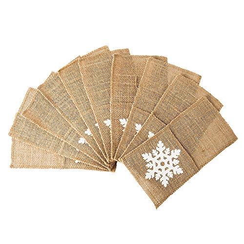 "10X Jute Hessian Burlap Lace Cutlery Holder Pouch Bag Vintage Rustic Wedding Banquet Party Decoration 4""x 8"" (snow)"