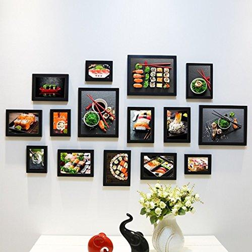 Ein Combo-küche (Edge to Dekorrahmen Fotorahmen Sets Restaurant Foto Wand Japanische traditionelle Küche Sushi Bar Shop Combo Box Bild Restaurant Wandbilder/Fotowand (Farbe : E))