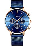 CIVO Montres Homme Imperméable Mode Noir Bleu Chronographe Multifonctionnel Montre avec Bande en Acier Inoxydable Calendrier Décontractée Montre Bracelet à Quartz Élégant Montre (Bleu/Or)
