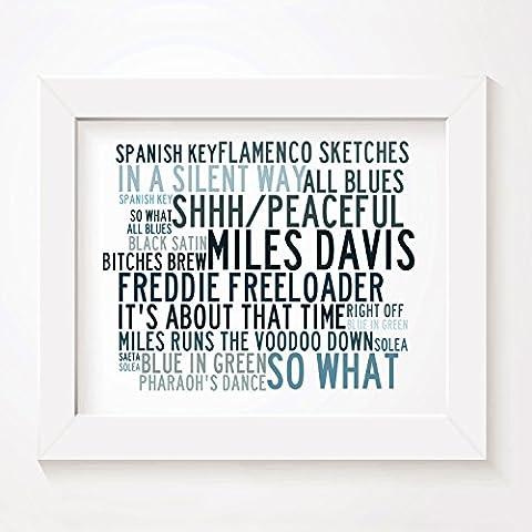 `Crystalline` Kunstdruck Poster - MILES DAVIS - Unterzeichnet und Nummerierten Limitierte Auflage Singles Typografie Ungerahmt 25 x 20 cm (10 x 8 inch) Wand Kunst Druck Text Lyrisch Grafik Plakat - Song Lyrics Art Print