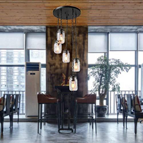 Kronleuchter,Branchen kreative Wind Kronleuchter aus Eisen Kunst Handwerk + Mason Jar Flasche Loft Stil Deckenleuchten Geeignet für 10-15 m² Restaurant/Bar/Flur Leuchten wunderschön