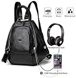 Deal Especial Multiple Use Girl's USB Charging & Aux Music Backpack Bag Black Color (136H)