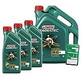 3x 1 L + 5 L = 8 Liter Castrol Magnatec 5W-40 C3 Motor-Öl inkl. Ölwechsel-Anhänger
