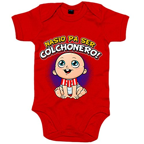 Body bebé nacido para ser Colchonero Atlético fútbol - Rojo, 6-12 meses