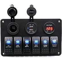 BlueFire LED 6 Gang Interruttore Pannello Impermeabile 5pin On/Off con 12V Presa accendisigari + Voltmetro Digitale + 2 USB alimentatore Caricabatterie Adattatore per Auto / Barca Marine(6 Gang)