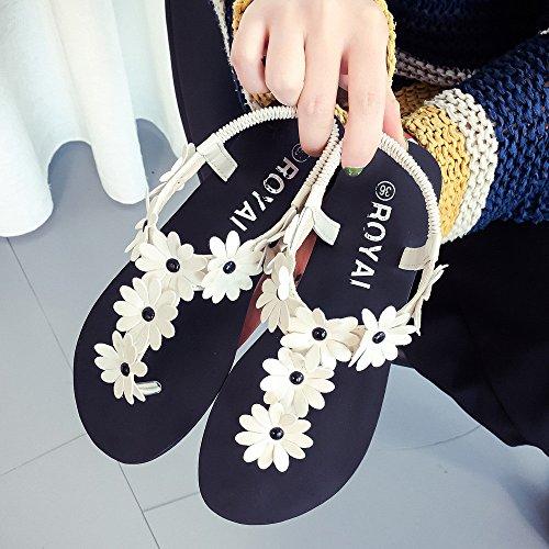 FEITONG Frauen Flache Schuhe Perlen Böhmen Sandalen Peep-Toe Schuhe Weiß