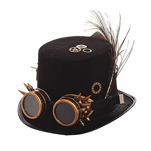 BLESSUME Unisexo Steampunk Parte superior Sombrero Cosplay Sombrero Punk Fiesta Sombrero de copa (Circunferencia de la cabeza 58-61cm) (C)