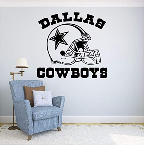 HLLCY New Fashionable Quote Dallas Cowboys Vinyl Wandaufkleber Fußball Logo Sport Wandtattoos Abnehmbare Dekoration 57X57CM (Dallas Dekorationen Cowboys)