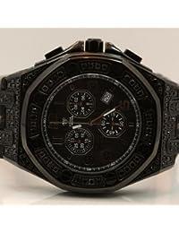 AQUA MASTER W3257 - Reloj para hombres, correa de cuero color negro