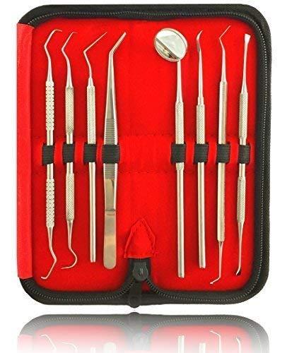 Dental Pick (8er Dental Zahnpflege Set | Zahnreinigung Zahnsteinentferner | Zahninstrumente aus Edelstahl | Mit Zahnsonde Pinzette Mundspiegel und Scaler)