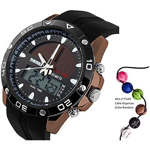 TTLIFE 1064 Uomo di visualizzazione quarzo multifunzione solare esterno analogico-digitale orologio sportivo impermeabile 50M - Automatico Blu Mens Watch