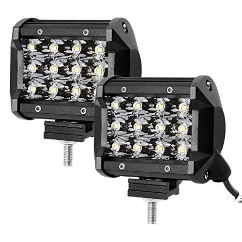 LE 2er LED 36W Zusatzscheinwerfer 12V 24V 4 Zoll 3600lm 3 Reihen Arbeitsscheinwerfer LED Scheinwerfer IP67 wasserdicht Abstrahlwinkel 30 Grad Flutlichtstrahler mit 12 LEDs