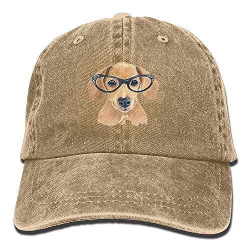 Wdskbg Netter Hund Mit Brille Unisex Justierbare Baseballmützen Denimhüte Cowboy Sport Outdoor Multicolor85