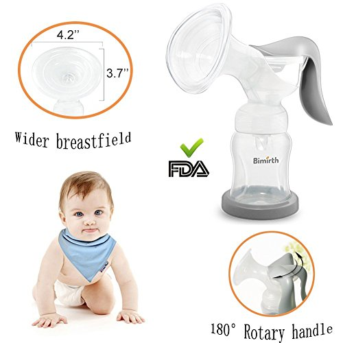 Milchpumpe,BeautyPO 180 ° Rotary Manuelle Brustpumpe,100% Lebensmittel Grade Silikon Komfort Ergonomisch Breast Pump für Babys Stillen