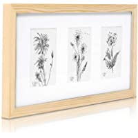 Classic by Casa Chic - Solid Wood Triple Photo Frame for 4x6 inch Photos - Natural - Perspex Front