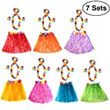 LUOEM Hawaiian Hula Dancer Disfraz de falda de hierba Luau Favores de fiesta Hula Dancer Falda diadema Collar de conjunto Luau Party Supplies and Decorations, Pack de 7 (Multicolor)