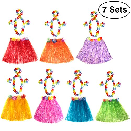 OULII Hawaiian Hula Tänzer Gras Rock Kostüm Luau Party Favors Hula Tänzer Rock Stirnband Halskette Set Luau Party Supplies und Dekorationen, Packung mit 7 (Multi-Color)