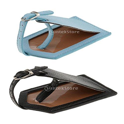Sharplace 2 Stück Kofferanhänger Gepäckanhänger Koffer Adressanhänger aus Kunstleder - Blau Schwarz