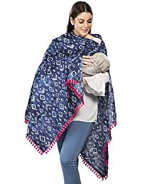 EasyFeed Women's Cotton iKat Print with Pink Lace Multipurpose Scarf (Blue, Free Size)