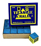 #7: TRIANGLE CHALK BILLIARD CHALK ( 12 PIECE ) BLUE