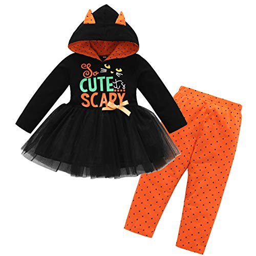 Kostüm Kleinkind Clown Für - Riou Kinder Langarm Halloween Kostüm Top Set Baby Kleidung Set Infant Kleinkind Baby Mädchen Halloween Kürbis Bogen Party Kleid Kleidung Kleider (Schwarz b, 120)