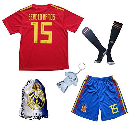 FWC 2018 Spanien #15 Sergio RAMOS Heim Kinder Fußball Trikot Hose und Socken (Heim, 11-12 Jahre)