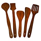 #3: ITOS365 Handmade Wooden Serving and Cooking Spoon Kitchen Utensil Set of 5