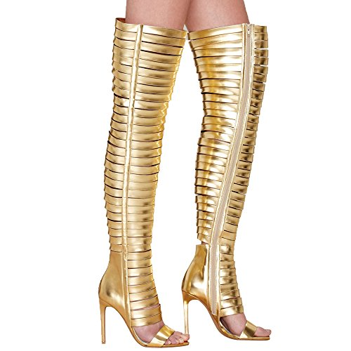 Onlymaker Damen Kunststoff Blinded Thigh-High Heels Golden