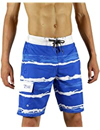 b1e4df711e SAFS Men Board Shorts Swim Trunks Quality Features Blue-White 36