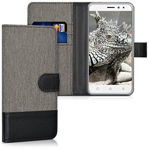 kwmobile Lenovo K6 Power Hülle - Kunstleder Wallet Case für Lenovo K6 Power mit Kartenfächern und Stand