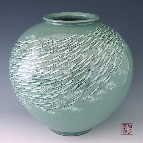 Korean Celadon Glaze eingelegter weiß Fisch grün Porzellan Keramikeinlage Pottery Globe Kitchen Home Decor Glas, rund -