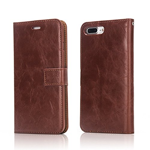 Hülle für iPhone 7 plus , Schutzhülle Für IPhone 7 Plus, Crazy Horse Texture Abnehmbare Design PU Leder Geldbörse Tasche Tasche mit Card Slots ,hülle für iPhone 7 plus , case for iphone 7 plus ( Color Brown