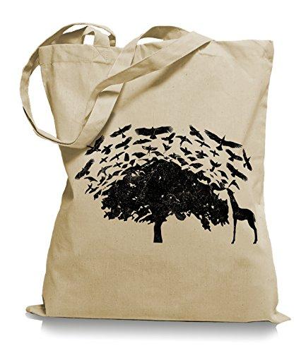 Ma2ca® Birds On Tea Africa Giraffa Uccelli Borsa Di Stoffa Borsa Di Iuta Borsa Di Trasporto / Borsa Wm101 Sabbia