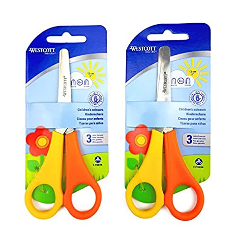 2 x Children's / Kid's Left Handed Scissors with Ruler Edge - Westcott Branded