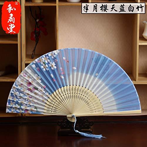 r,Sommer Bambus Fan Hohl Kirschblüte Hellblau Gradienten Retro Chinesischen Stil Damen Geschenk Faltfächer Wanddekoration Tanz Fan ()
