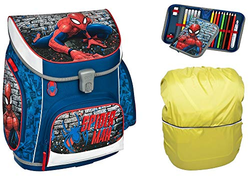 Spiderman SCOOLI Schulranzen für Grundschule Jungen Schulrucksack   anatomisch   Schultasche Set 3 teilig   inkl. Federmäppchen, Regenschutz von SCOOLSTAR